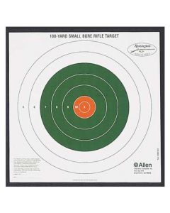 Allen Remington 100 Yard Small Bore Rifle Bullseye Target - 12 Pack