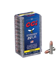 CCI 22LR 32GR Stinger Hyper Velocity CPHP 1640FPS - 50 Pack