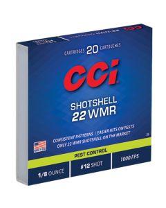 CCI 22WMR 52GR #12 Shot Shotshell 1000FPS - 20 Pack