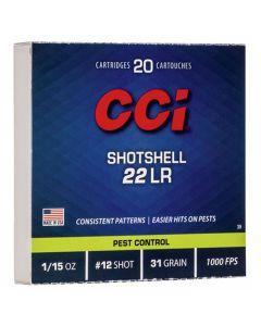 CCI 22LR 31GR #12 Shot Shotshell 1000FPS - 20 Pack