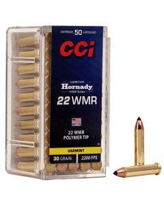 CCI 22WMR 30GR High Velocity V-MAX Poly-Tip 2200FPS - 50 Pack