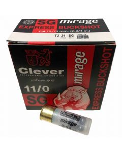 Clever Mirage T3 12G 34GR OO/SG Express Buckshot Cartridges - 25 Pack