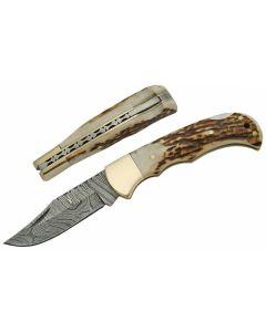 Damascus DM1161 Stag Bone Handle Folding Knife