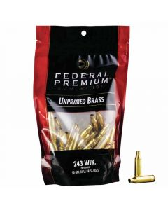 Federal Premium 243 WIN Unprimed Brass Cases - 50 Pack
