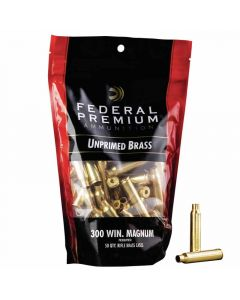 Federal Premium 300 WIN MAG Unprimed Brass Cases - 50 Pack