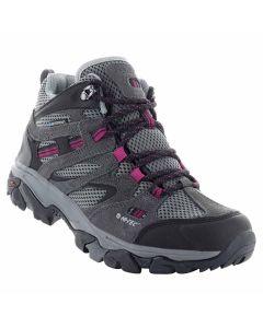 HI-TEC RAVUS Vent Mid WP Women's Hiking Boots - Charcoal/Cool Grey/Amaranth