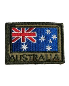HUSS Auscam Flag Patch Velcro Backed - Olive Australia