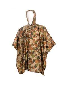HUSS Hooded Lightweight Nylon Rain Poncho - Auscam Camo