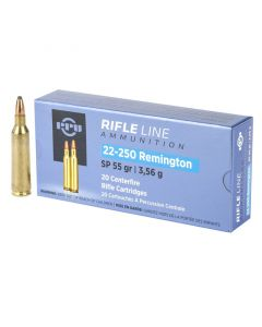 PPU 22-250 REM 55GR Soft Point Ammunition - 20 Pack
