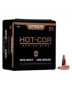 SPEER .303 BRIT CALIBER 150GR HOT-COR MEDIUM GAME PROJECTILES - 100 Pack