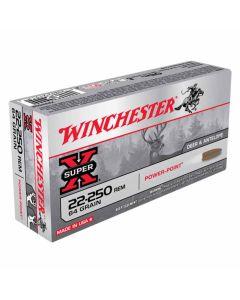 Winchester Super-X 22-250 REM 64GR Pointed Soft Point 3500FPS - 20 Pack