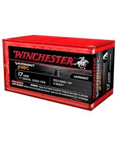 Winchester 17HMR 17GR Varmint HV V-Max Poly-Tip 2550FPS - 50 Pack